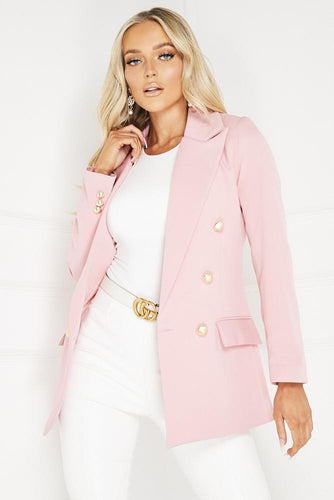 SIERRA Pink Oversized Button Detail Blazer