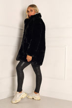 Load image into Gallery viewer, ELLE Black Faux Fur Coat