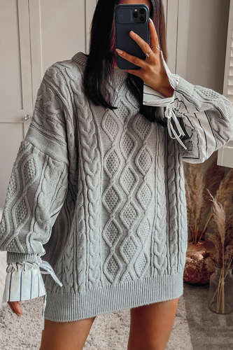 ALIYAH Grey Cable Knit Under Shirt Jumper Dress