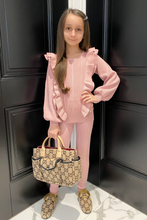 Load image into Gallery viewer, Mini Isla Blush Pink Knitted frill front longsleeve loungewear set