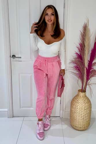 CLAUDIA Pink High Waisted Toweling Joggings