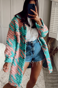 Fia Mint Pink Patterned Button Up Shacket