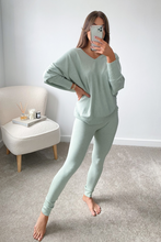 Load image into Gallery viewer, BLAIR Mint Bat Sleeve V Neck Loungewear Set