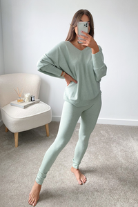 BLAIR Mint Bat Sleeve V Neck Loungewear Set