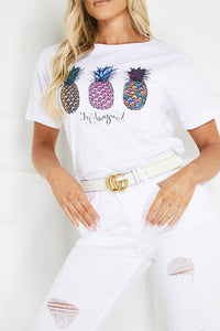 OAKLEY White Pineapple Print T Shirt