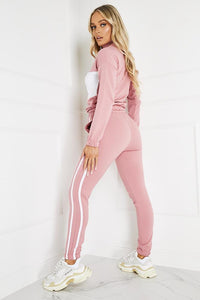 Paris Pink Contrast Stripe Zip Lounge Set Loungewear