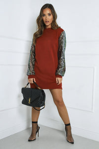 LUCY Rust Sequin Sleeve Long Jumper
