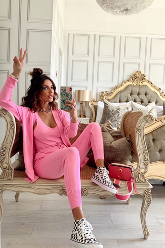 KIMMY Pink Knitted 3-piece Loungewear set