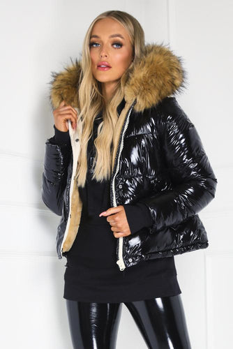 MARLEY Black PU Faux Fur Puffer Coat