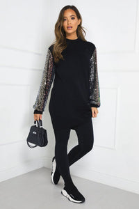 LUCY Black Sequin Sleeve Long Jumper