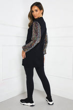 Load image into Gallery viewer, LUCY Black Sequin Sleeve Long Jumper