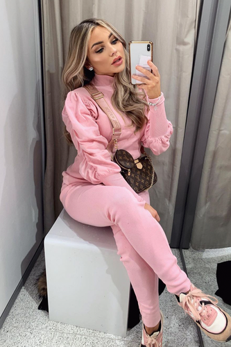 NINA Pink Puff Sleeve Lounge Set