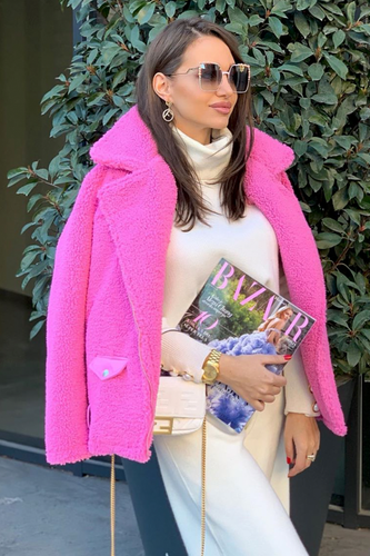 KIMBERLY Hot Pink Aviator Coat