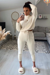 KELSEY Cream High Neck Fitted Lounge Set