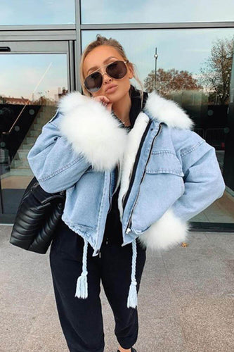 ALYSSA White Faux Fur Denim Detachable Under Lining Jacket