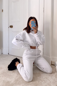 LARA White Hooded Crop Lounge Set