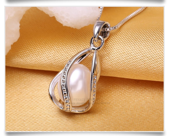 Natural  Pearl Pendant Cage Necklace