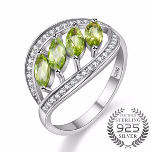 925 Sterling Silver Zircon Ring With Green Rhinestone - Outlet Utria
