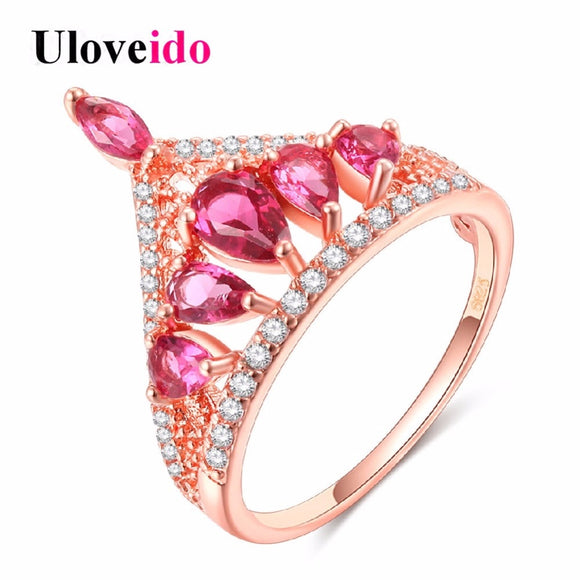 Pink Crown  Rose Gold Color Ring - Outlet Utria