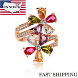 Adjustable Flower Rose Gold Color Ring With Stone - Outlet Utria