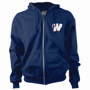 """W"" Full Zip Hooded Sweatshirt Youth & Adult"
