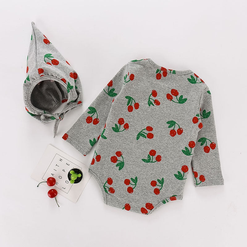 Cherry Jumpsuit + Hat - babyland.cloth