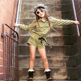 Army green Romper - babyland.cloth