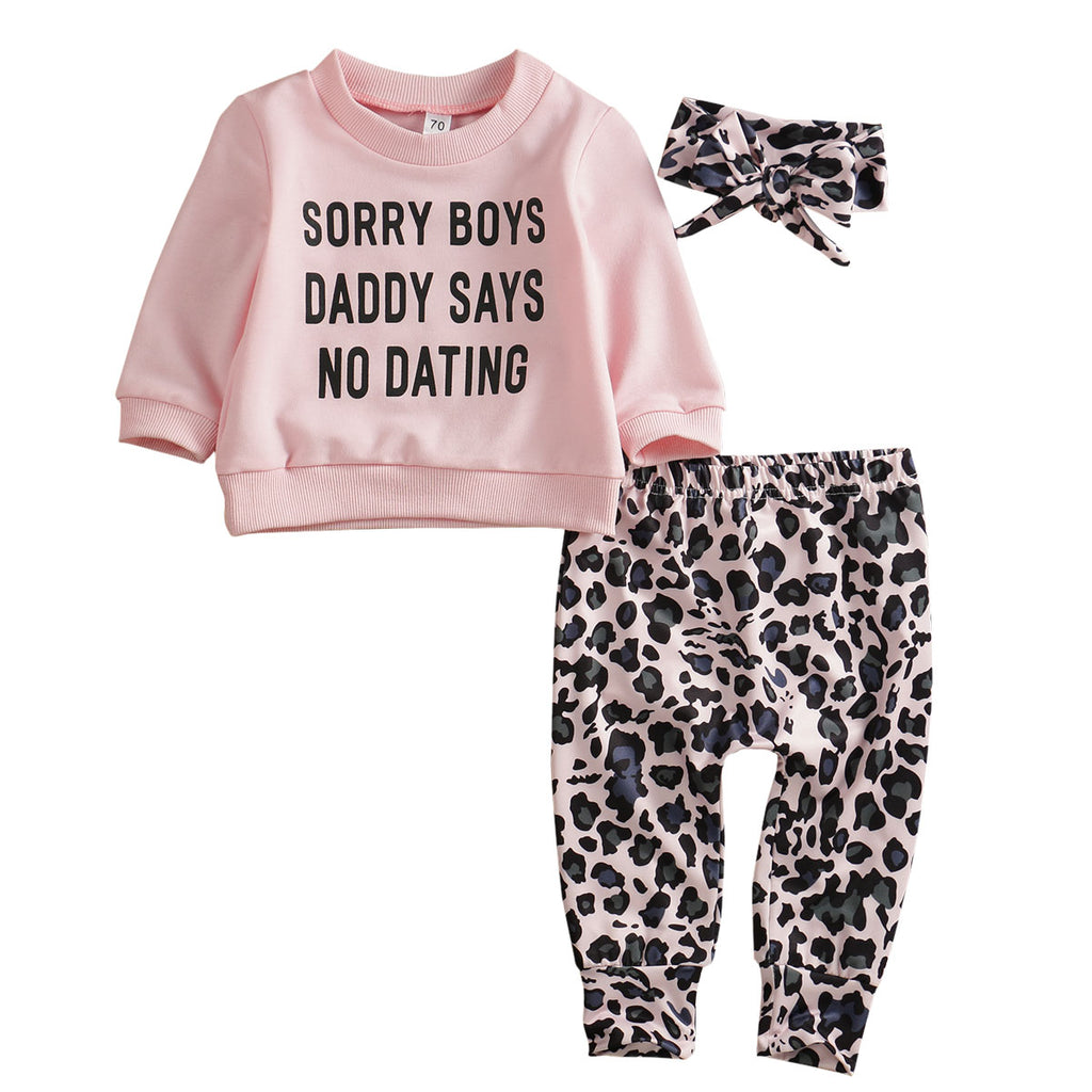 """Sorry Boys Daddy Sais No Dating"" Outfit + Headband 3Pcs - babyland.cloth"