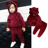 So Red Bear Tracksuit Hooded 2Pcs - babyland.cloth