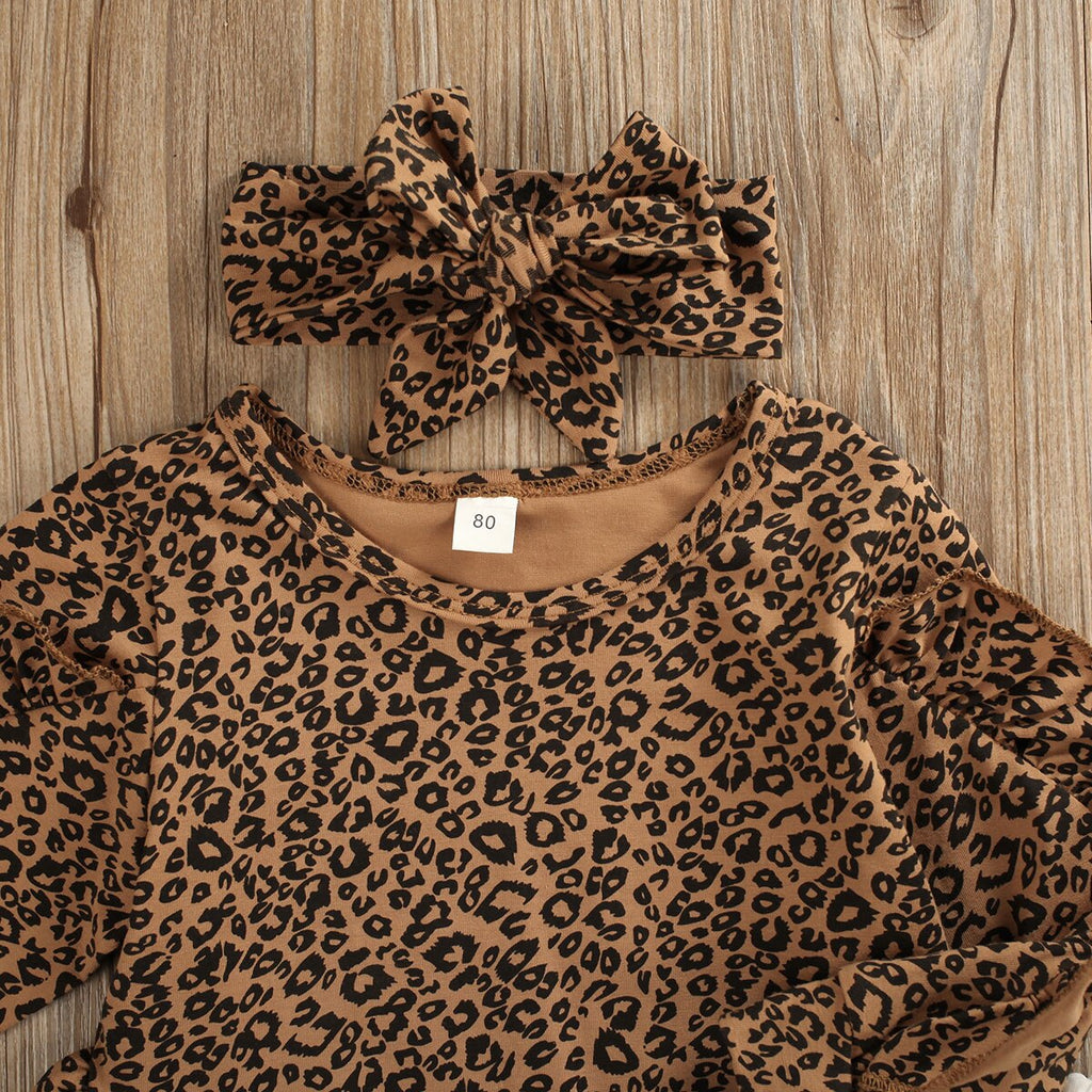 Leopard Ruffle Set 3Pcs - babyland.cloth