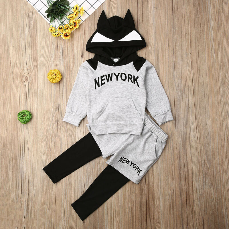 New York Tracksuit Bat Hoodie 2Pcs - babyland.cloth