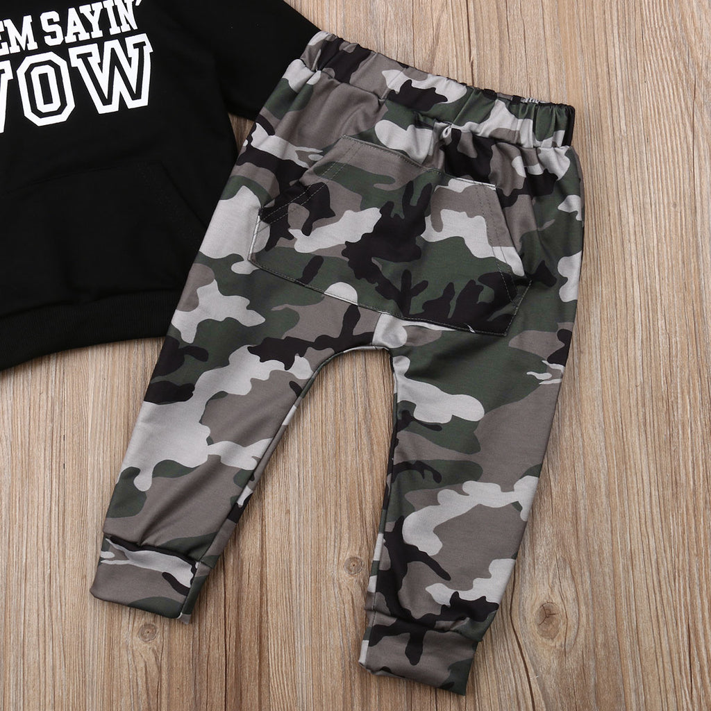 Got em saying WOW Camo Tracksuit Hooded 2Pcs - babyland.cloth
