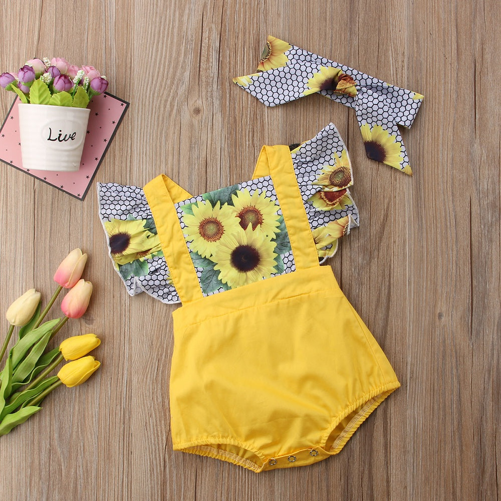 b5005954c ... Load image into Gallery viewer, Sunflower Bodysuit + Headband -  babyland.cloth ...
