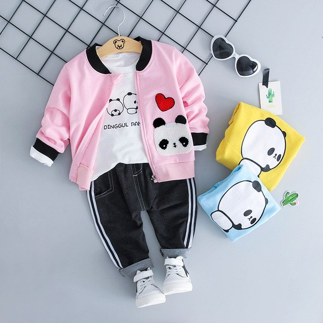 Pandas Clothes Set 3PCS (Jacket+T-shirt Long Sleeve+Pants) - babyland.cloth