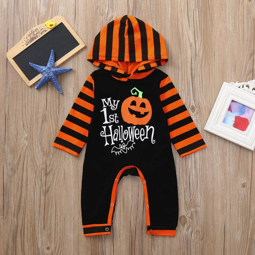 Arloneet Infant baby rompers halloween costume Toddler Baby Girls Boys Pumpkin Hoodie Romper Halloween Clothes Jumpsuit l0808 - babyland.cloth