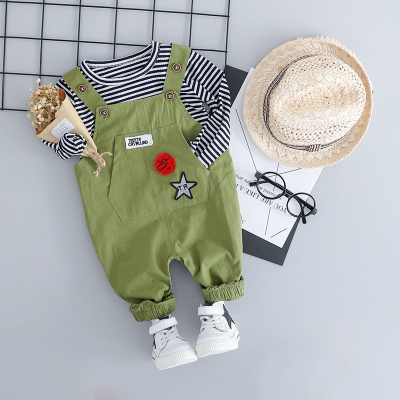 Overalls + T-shirt Long Sleeve - babyland.cloth