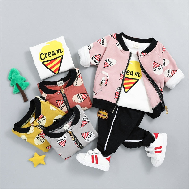 Cartoon ICE-CREAM Clothing Set 3PCS - babyland.cloth