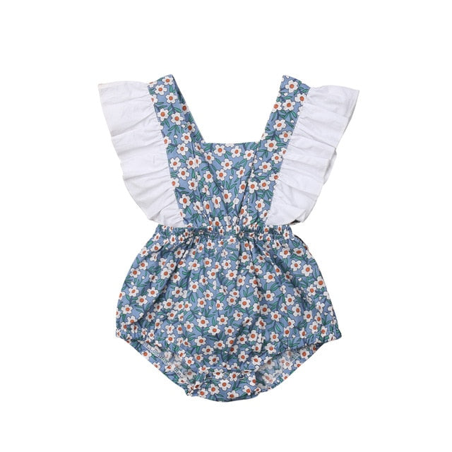 Floral Ruffle Sleeveless Romper - babyland.cloth