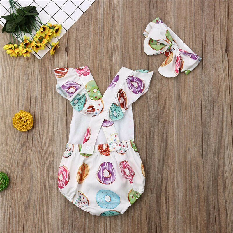 Donuts Jumpsuit + Headband - babyland.cloth