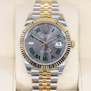 Rolex Datejust Wimbledon 41mm 126333 Jubilee Two-Tone 18K Gold Fluted Bezel & Steel Slate Roman Dial