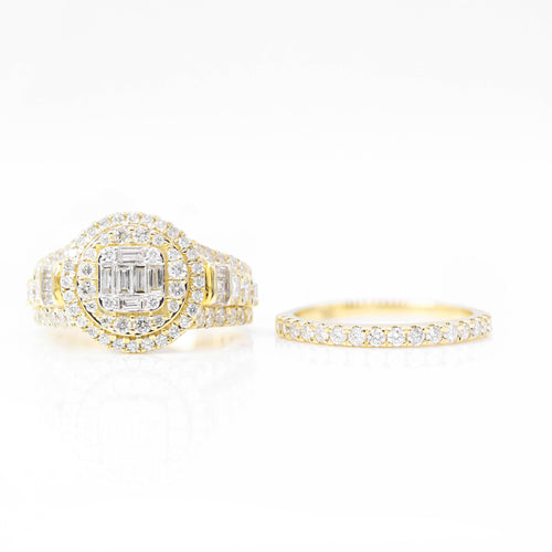 Baguette Center w/ Double Row Diamond Ring & Band