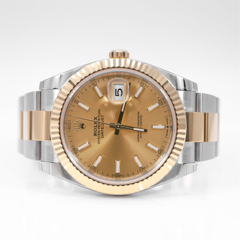 Rolex 126333 Datejust 41mm Mens Oyster Two-Tone 18K Gold Fluted Bezel & Champagne Dial