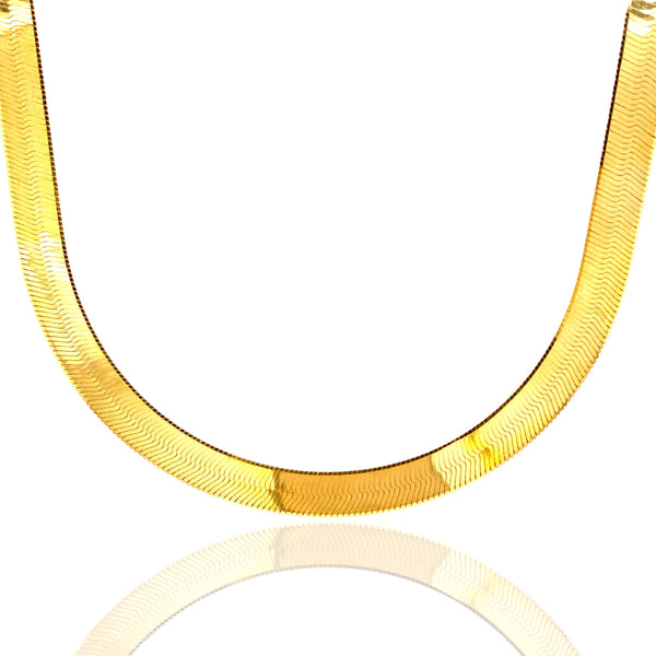 10KT Solid Gold Herringbone Style Gold Chain