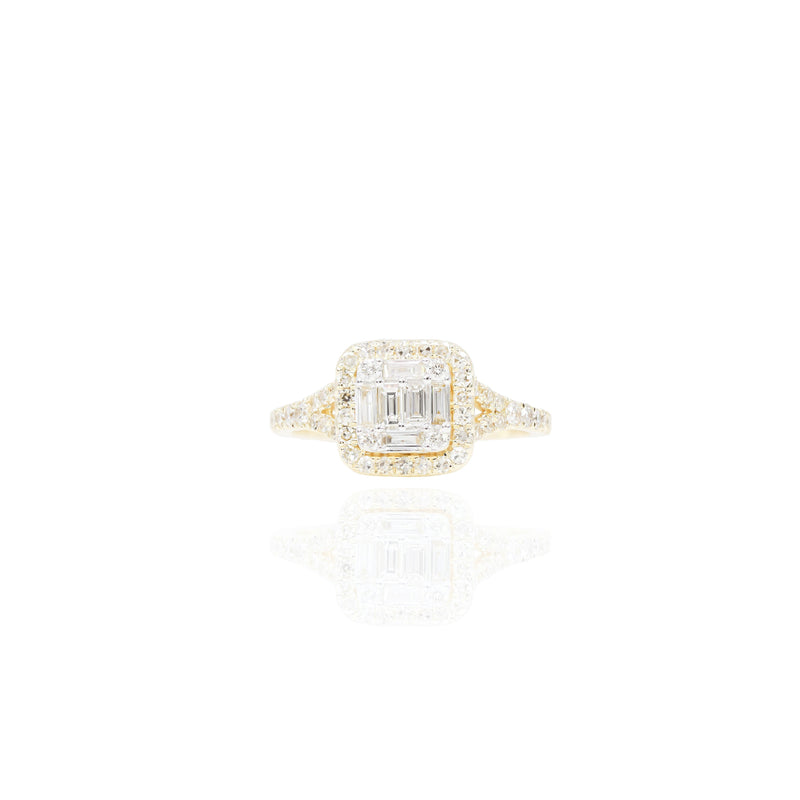 Diamond Princess Cut Shape Baguette Engagement Ring & Band