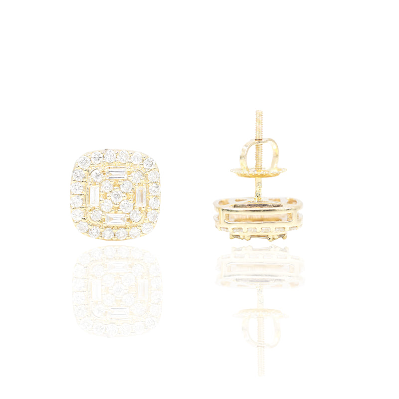Yellow Gold Baguette & Round Diamond Earrings