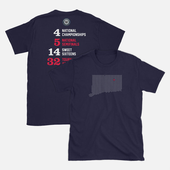 Storrs, Connecticut Basketball Map Stats T-Shirt