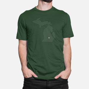 East Lansing, Michigan Basketball Map Stats T-Shirt