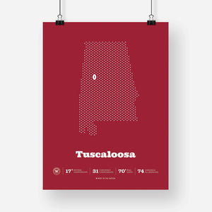 Tuscaloosa, Alabama Football Map Stats Poster