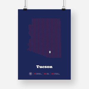 Tucson, Arizona Football Map Stats Poster
