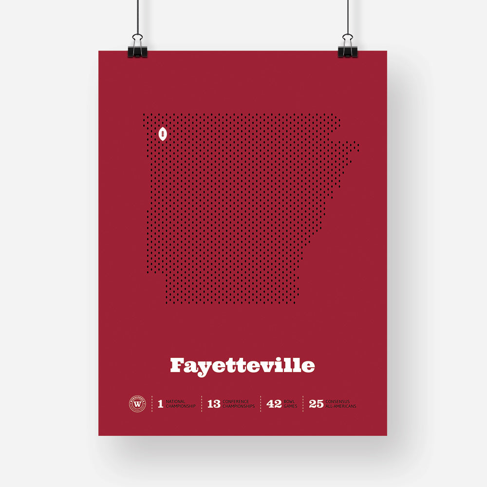 Fayetteville, Arkansas Football Map Stats Poster
